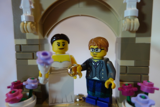 LEGO wedding arch closeup.
